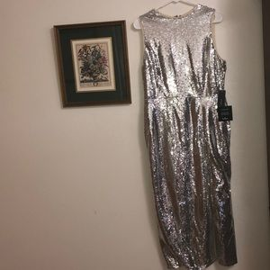 Silver sequin midi dress with side slit